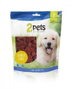 2pets Dogsnack Ostrich Cubes, 400 g