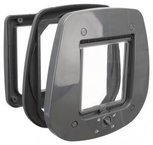 Kattdörr 4-vägs, för glasdörr,27 × 26 cm, grå