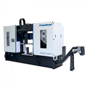 Semiautomatisk två-kolonn horisontal metallbandsåg