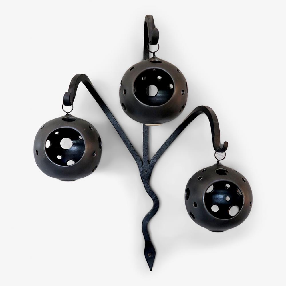 Kleva Trippel Ljusboll m. Smideskrok, svart