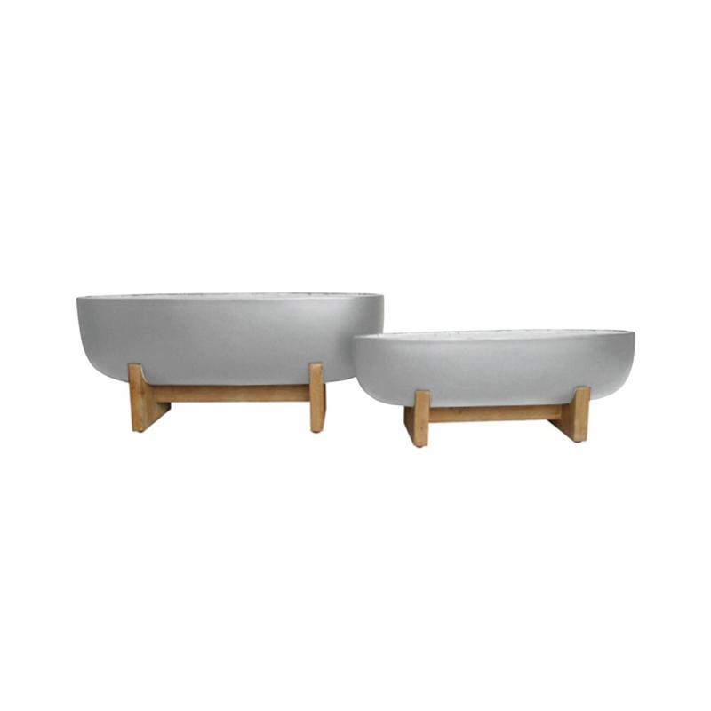 Rustik Kruka oval på träben cement, 75x24x21,64x19x15, 2st/förp