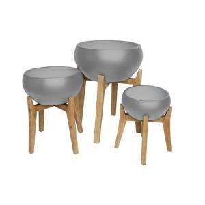 Rustik Skål rund på träben cement, Ø50H24, Ø40H19, Ø32H15, 1st/förp.
