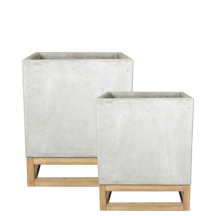 Kruka fyrk. cement på träben, D40,30/H52,40, 2set, 1set/förp.