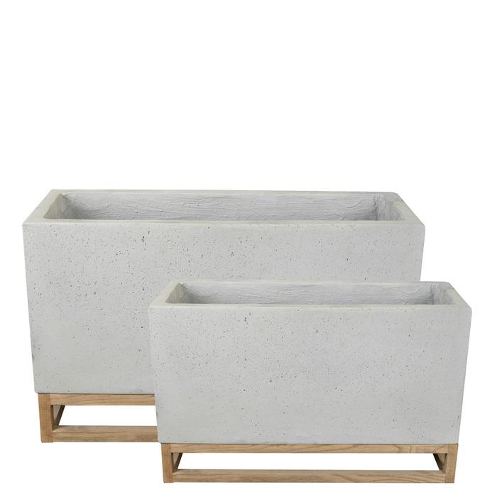 Kruka rekt. cement på träben, 80x32x52/60x23x37, 1set/förp.