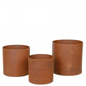 Plant kruka, rund rost, 3/set. 35x35,30x30,25x25cm