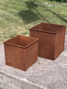 Planteringskrukor fyrkantig rost 2/set