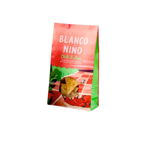 Vita majs tortillachips med lime och ancho chili, Blanco Niño, 170 g