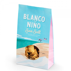 Vita majs tortillachips med Celestún Salt, Blanco Niño, 170 g