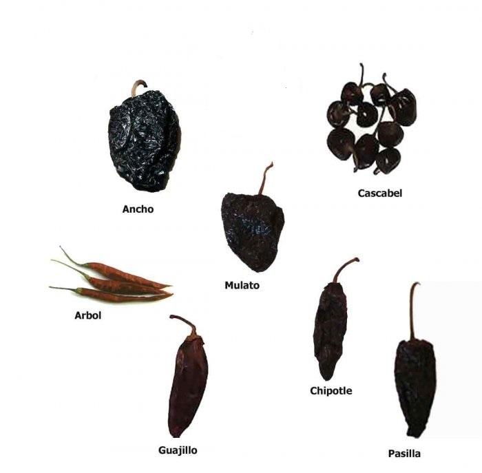 Set av 7 Torkade Chilifrukter (700g)