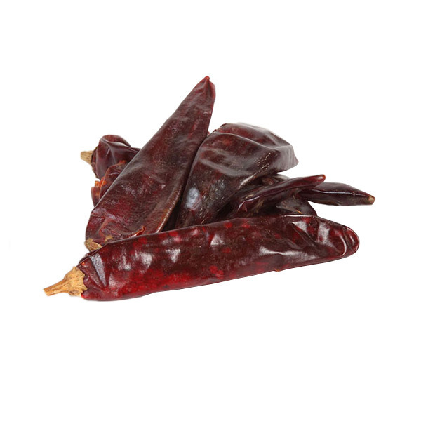 Torkade Guajillo Chili, en mild torkad chili med en rödbrunfärgad hud
