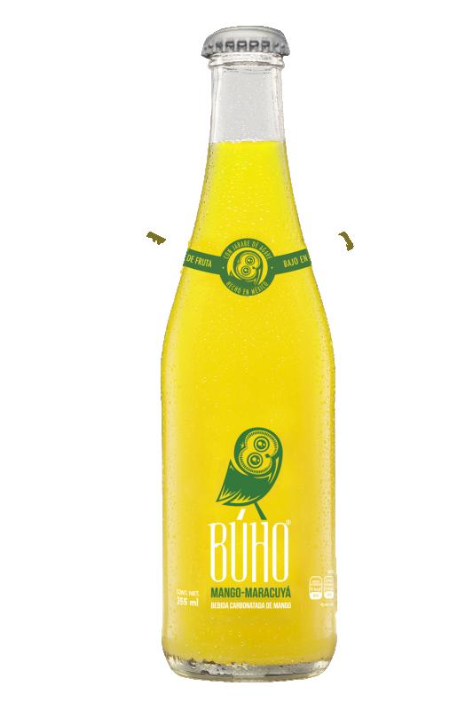 Mango-Passion BUHO gourmetläskedryck, 355 ml