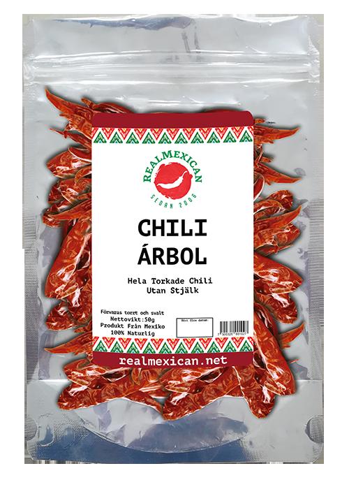 Torkade Arbol Chili, RealMexican, 50 g