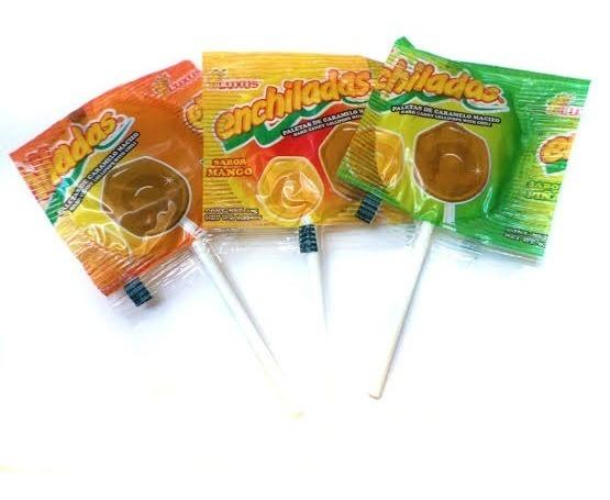Lollipop med chili och ananas, tamarind eller mangosmak