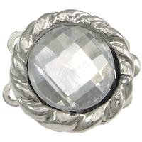 Lås 2-radigt med rhinestones, platinum, 1st