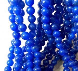 Jade rund 10mm mörkblå, 1sträng