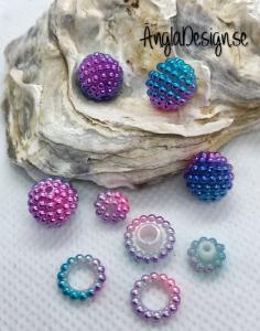 Bär pärla/berry beads blå/turkos/rosa/lila/vit 10mm acryl, 5-pack