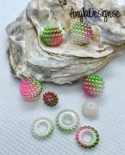 Bär pärla/berry beads grön/rosa/vit 10mm acryl, 5-pack