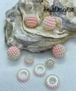 Bär pärla/berry beads ljusrosa/vit 10mm acryl, 5-pack