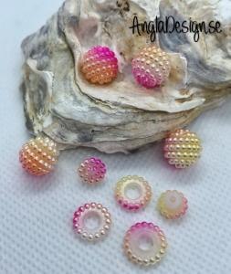 Bär pärla/berry beads rosa/orange/gul/vit 10mm acryl, 5-pack
