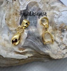 Berlockhållare/ bails för hängen, guldpläterad, 2-pack