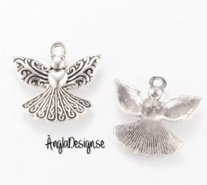 Berlock ängel keltisk med hjärta, antiksilver, 3-pack
