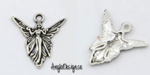 Berlock ängel med vingar, antiksilver, 5-pack