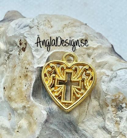Berlock hjärta med kors pläterad med guldfärg, 3-pack