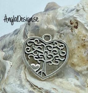 Berlock hjärta livets träd i antiksilver, 1st
