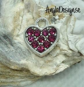Berlock litet hjärta i antiksilver med mörk rosa strass på båda sidor, 1st