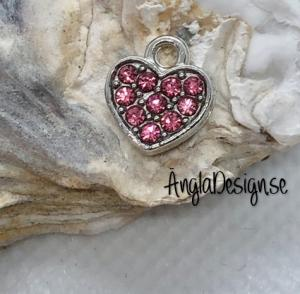 Berlock litet hjärta i antiksilver med rosa strass på båda sidor, 1st