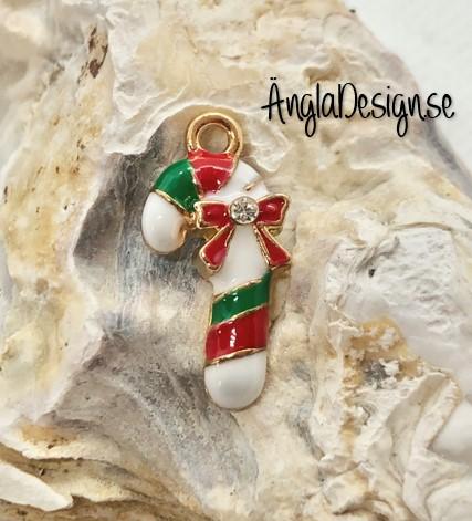 Berlock polkagrisstång emaljerad vit/röd/ grön med strass, guldfärg pläterad, 1st