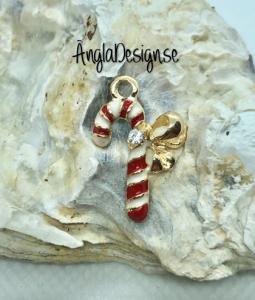 Berlock polkagrisstång emaljerad vit/röd med strass, guldfärg pläterad, 1st