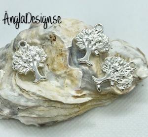 Berlock livets träd i ljust silver, 3-pack