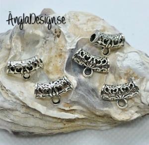 Berlockhållare krusidull med små hjärtan, bred i antiksilver, 5-pack