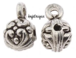 Berlockhållare kula med hjärtmönster i antiksilver, 5-pack