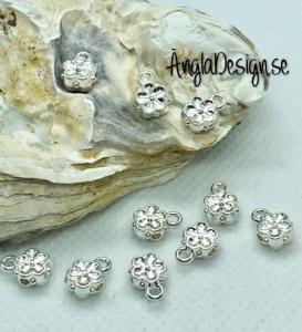 Berlockhållare söt liten blomma i ljust silver, 10-pack