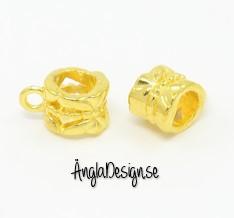 Berlockhållare söt rosett guldfärgad, 10-pack