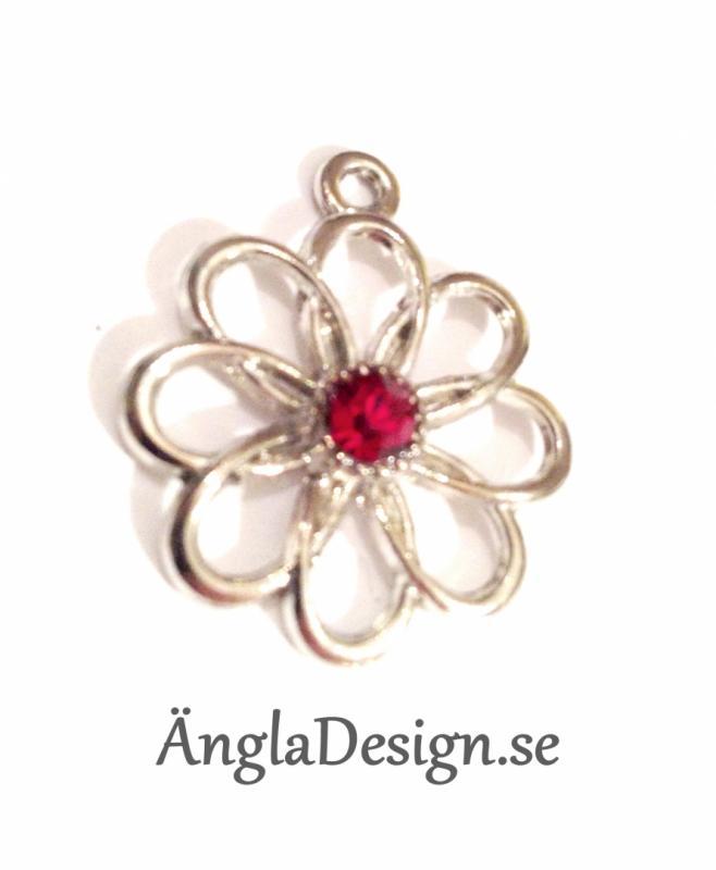 Berlock platinum, blomma med röd sten, 1 st