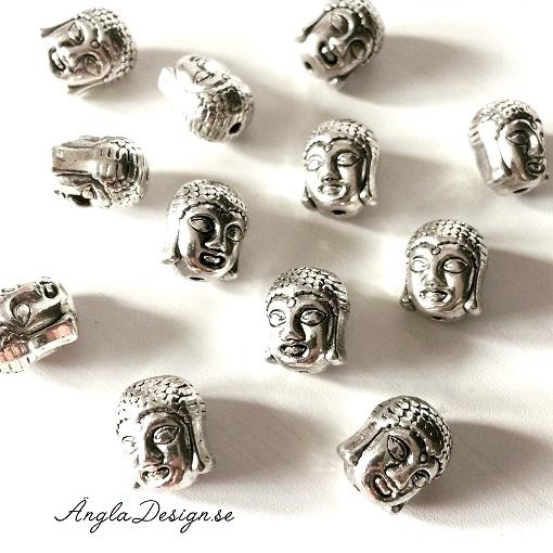 Mellandel antiksilver, buddha, 5-pack
