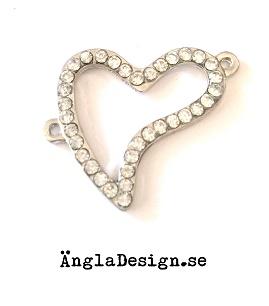 Connector hjärta med rhinestones, antiksilver, 1st