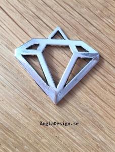 Hänge antiksilver 3cm, läcker diamant, 3st