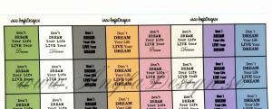 """Texter för 8st berlocker """"Don´t dream your.."""" färgmix nr2"""