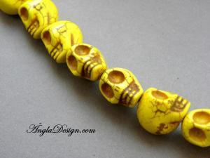 Magnesit döskalle stor, gul, 5 pack