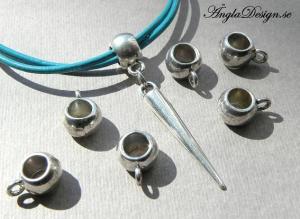 Mellandel/berlockhållare stilren, antiksilver, 10-pack