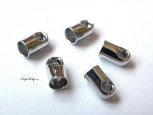 Hållare, fäste för bl a lädersnöre 2mm platina, 10-pack
