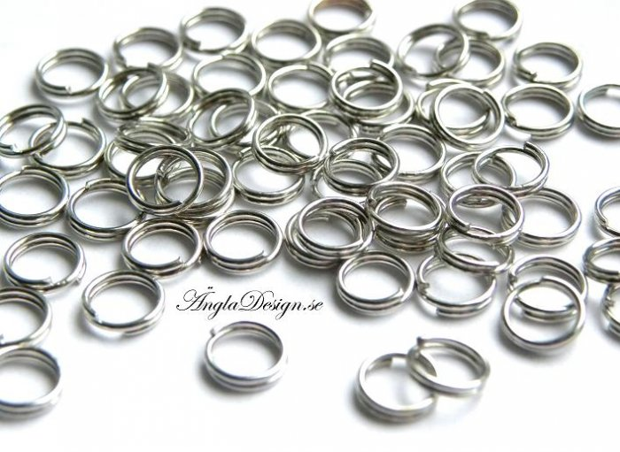 Splitringar 6mm, antiksilver, 50-pack