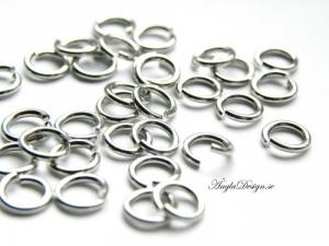 Bindringar 6mm, tjocka, antiksilver, 20-pack