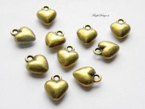 Berlock litet sött bulligt hjärta, brons, 10-pack