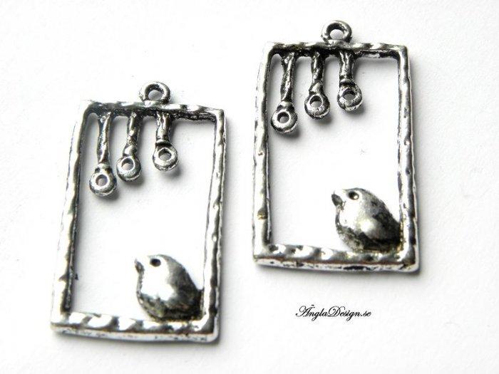 Rektangel med söt fågel, antik silver, 1st