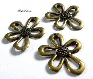 Hänge stor blomma, brons, 3,5cm, 1-ST